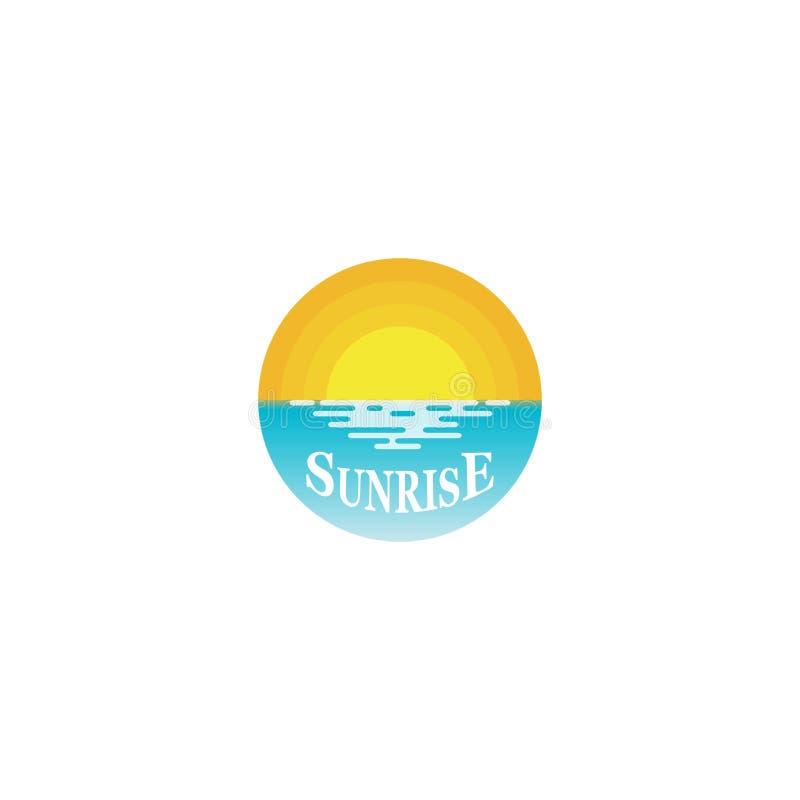 Vecteur d'icône de logo de lever de soleil, lumière du soleil dans l'océan illustration de vecteur