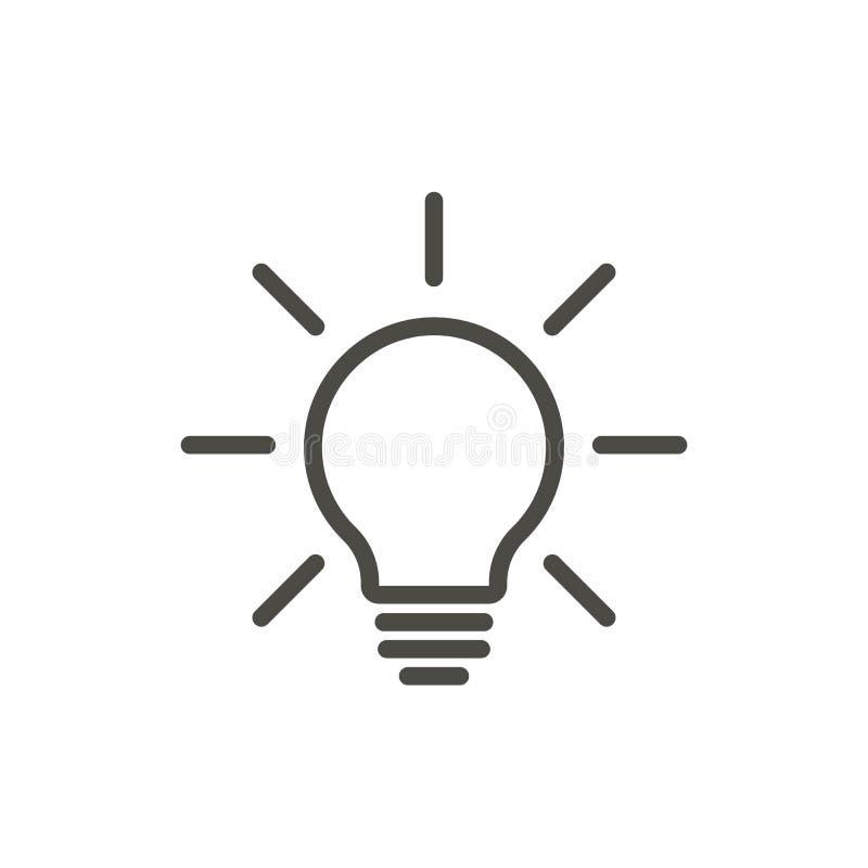 Vecteur d'icône de lumière d'ampoule Ligne lampe sur le symbole illustration stock