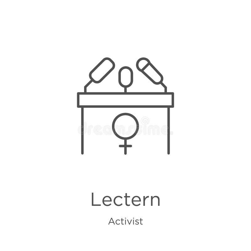vecteur d'icône de lutrin de collection d'activiste Ligne mince illustration de vecteur d'icône d'ensemble de lutrin Contour, lig illustration de vecteur
