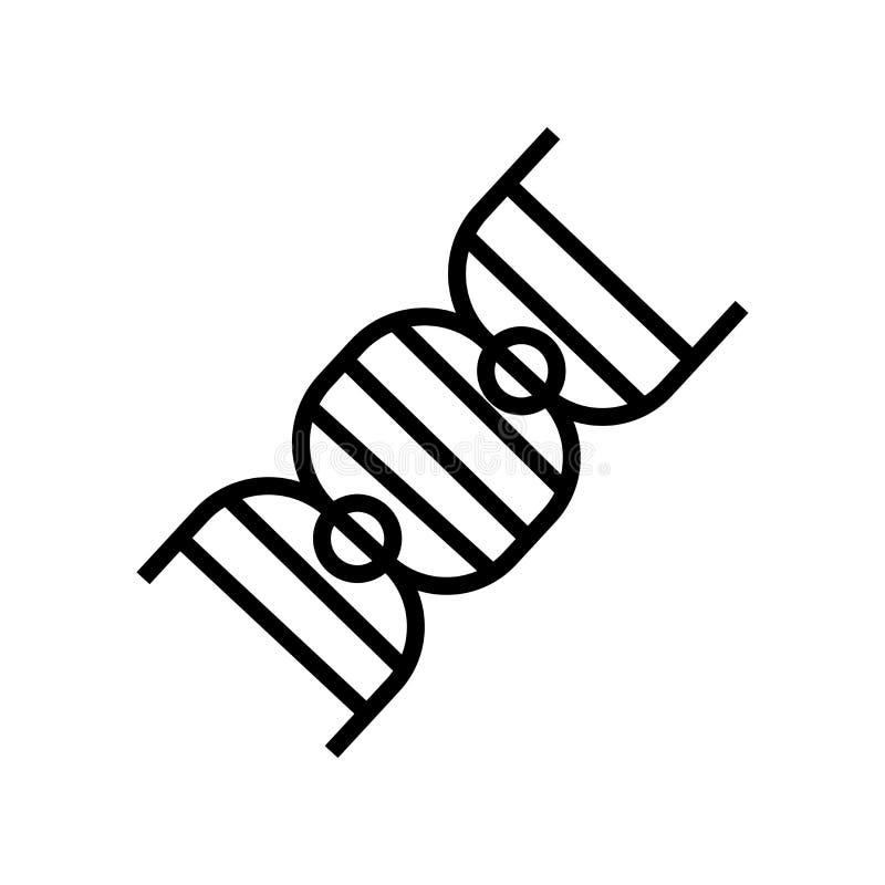 Vecteur d'icône de mèche d'ADN d'isolement sur le fond blanc, le signe de mèche d'ADN, le symbole linéaire et les éléments de con illustration libre de droits