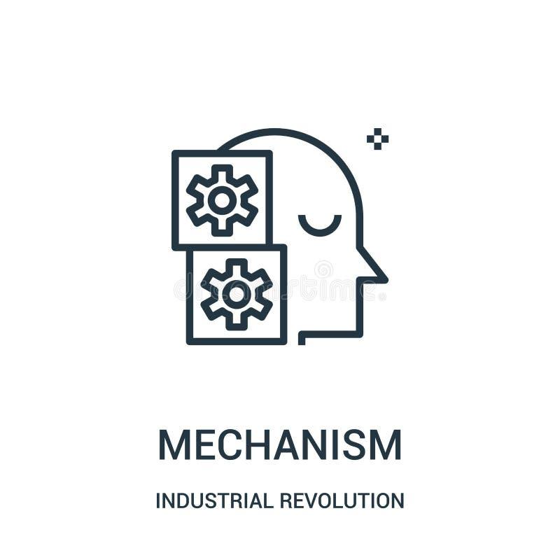 vecteur d'icône de mécanisme de collection de Révolution Industrielle Ligne mince illustration de vecteur d'icône d'ensemble de m illustration libre de droits