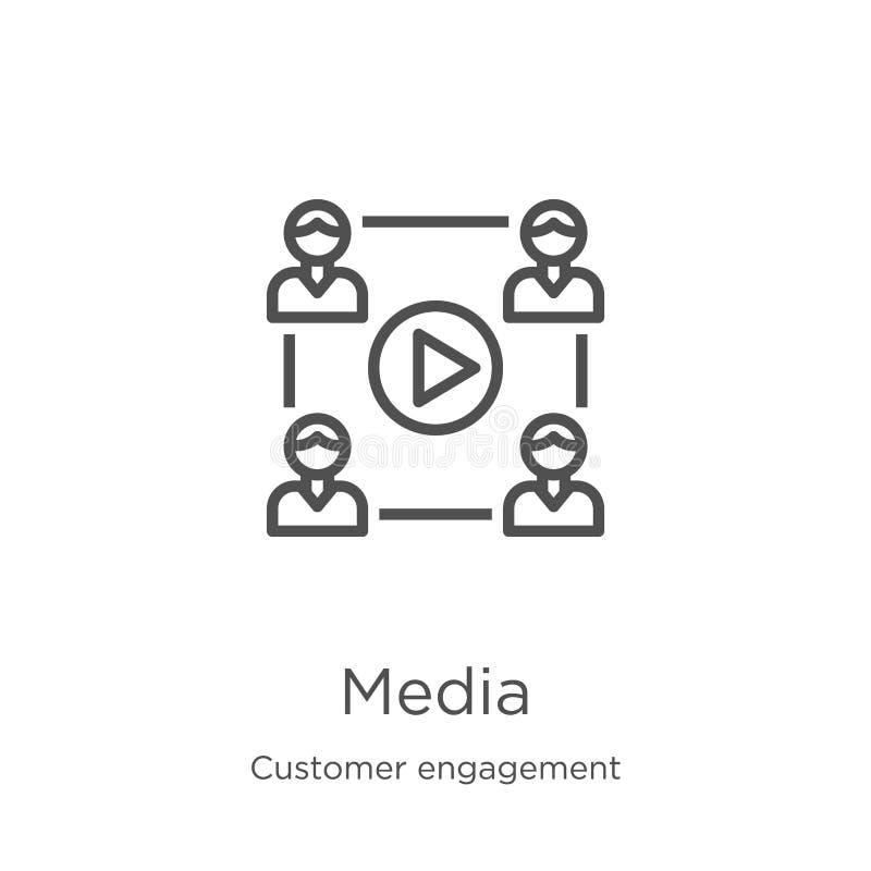 vecteur d'icône de médias de collection d'engagement de client Ligne mince illustration de vecteur d'icône d'ensemble de médias C illustration stock