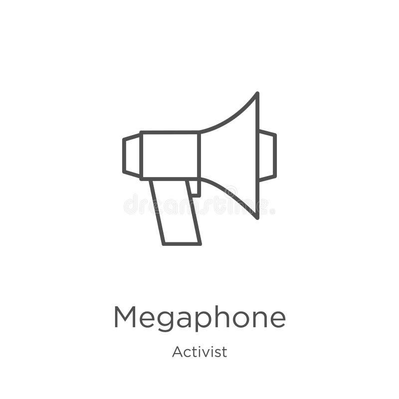 vecteur d'icône de mégaphone de collection d'activiste Ligne mince illustration de vecteur d'icône d'ensemble de mégaphone Contou illustration libre de droits