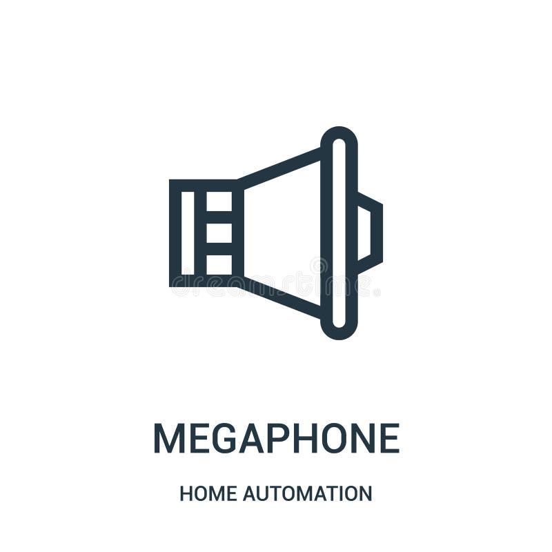 vecteur d'icône de mégaphone de collection de domotique Ligne mince illustration de vecteur d'ic?ne d'ensemble de m?gaphone Symbo illustration de vecteur