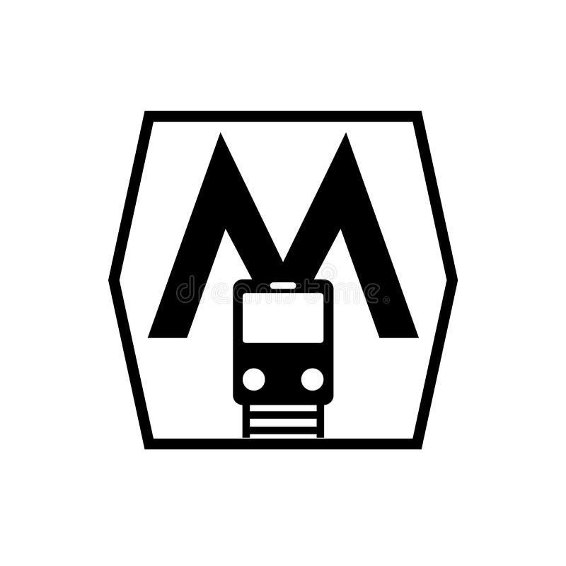 Vecteur d'icône de métro d'isolement sur le fond blanc, signe de métro illustration libre de droits