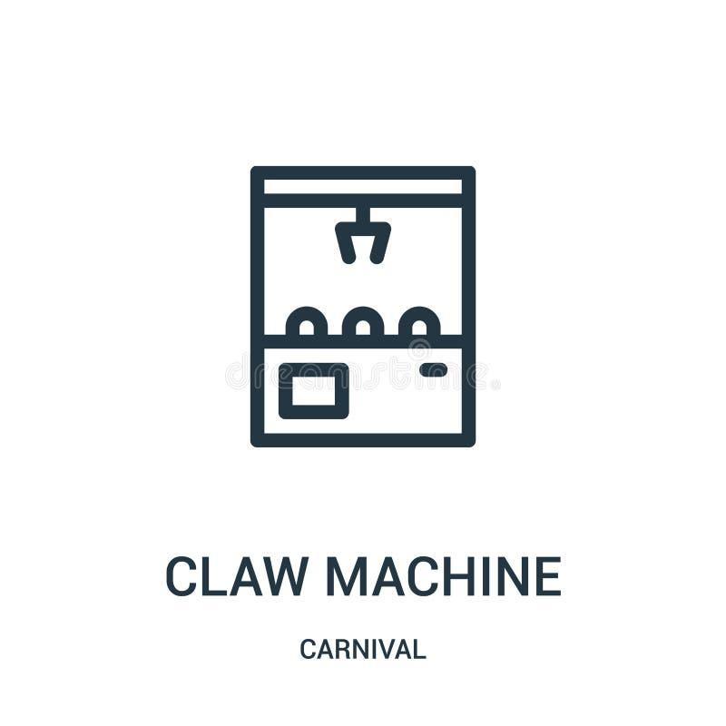 vecteur d'icône de machine de griffe de collection de carnaval Ligne mince illustration de vecteur d'icône d'ensemble de machine  illustration de vecteur