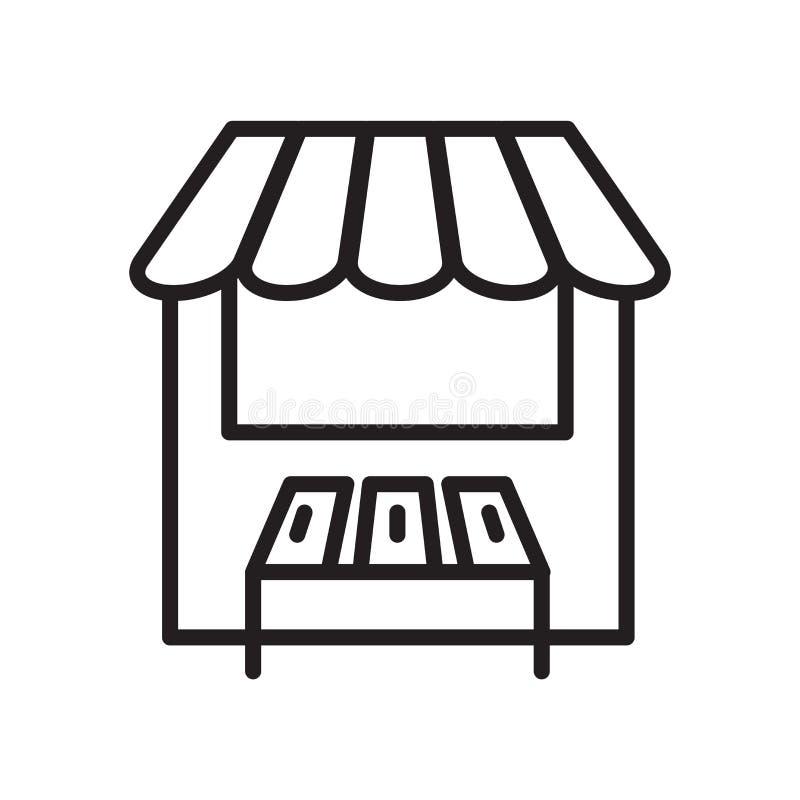 Vecteur d'icône de magasin d'isolement sur le fond blanc, le signe de magasin, le symbole linéaire et les éléments de conception  illustration stock