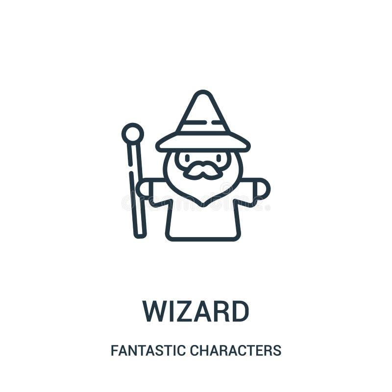 vecteur d'icône de magicien de la collection fantastique de caractères Ligne mince illustration de vecteur d'icône d'ensemble de  illustration libre de droits