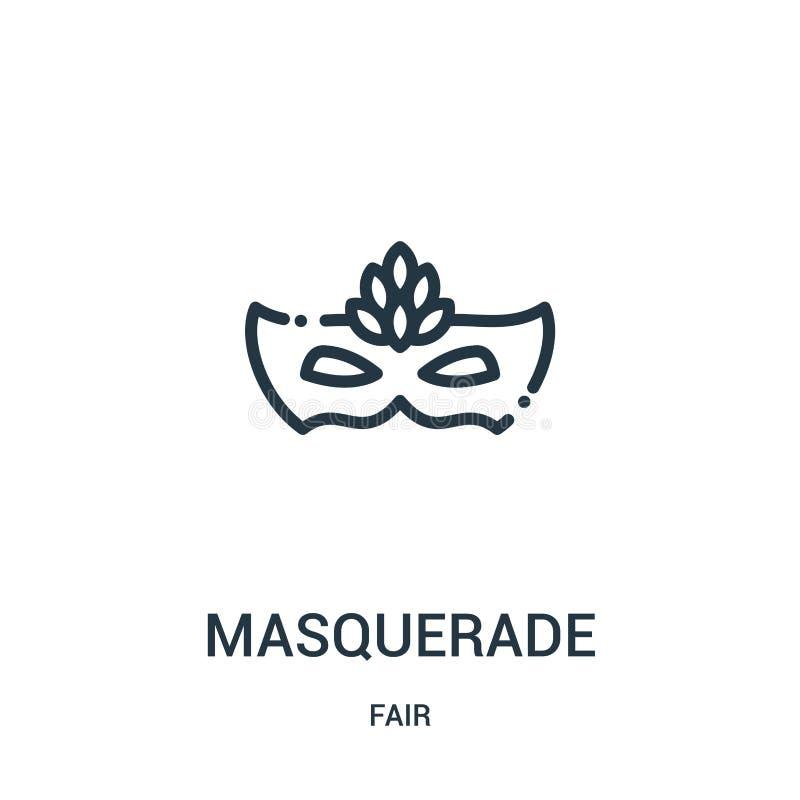 vecteur d'icône de mascarade de la collection juste Ligne mince illustration de vecteur d'icône d'ensemble de mascarade Symbole l illustration libre de droits