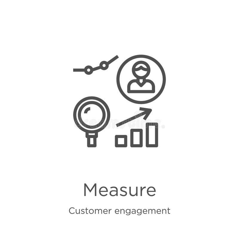 vecteur d'icône de mesure de collection d'engagement de client r Contour, ligne mince illustration stock