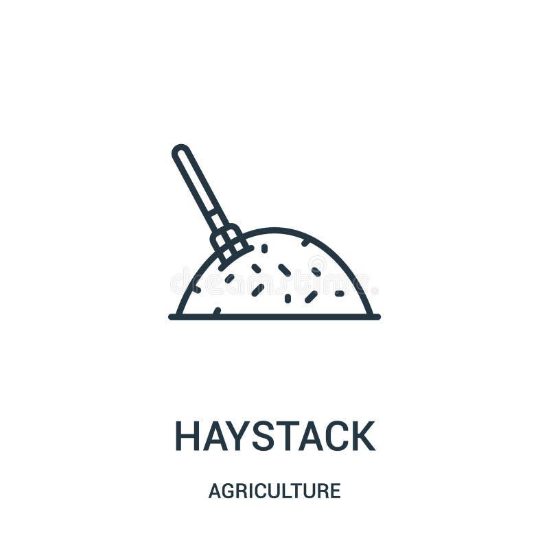 vecteur d'icône de meule de foin de collection d'agriculture Ligne mince illustration de vecteur d'icône d'ensemble de meule de f illustration de vecteur