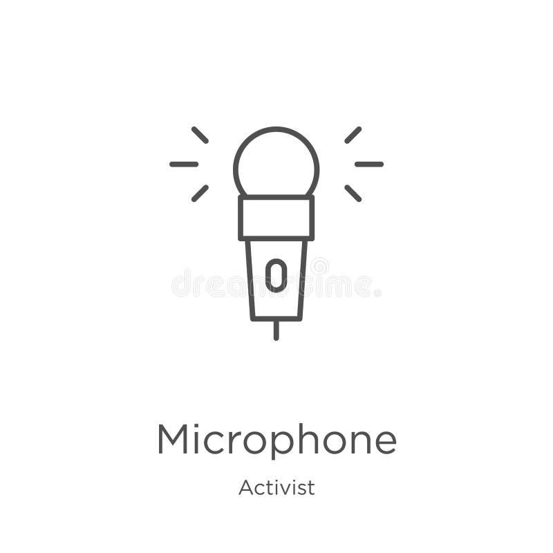 vecteur d'icône de microphone de collection d'activiste Ligne mince illustration de vecteur d'icône d'ensemble de microphone Cont illustration libre de droits