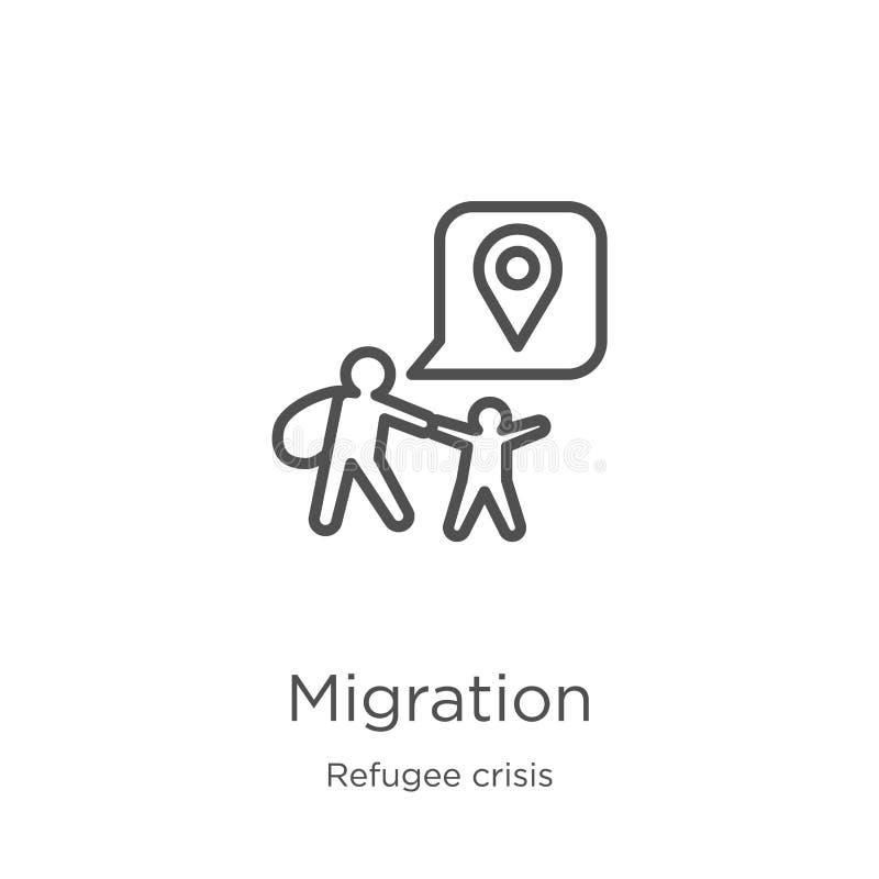 vecteur d'icône de migration de collection de crise de réfugié Ligne mince illustration de vecteur d'icône d'ensemble de migratio illustration de vecteur