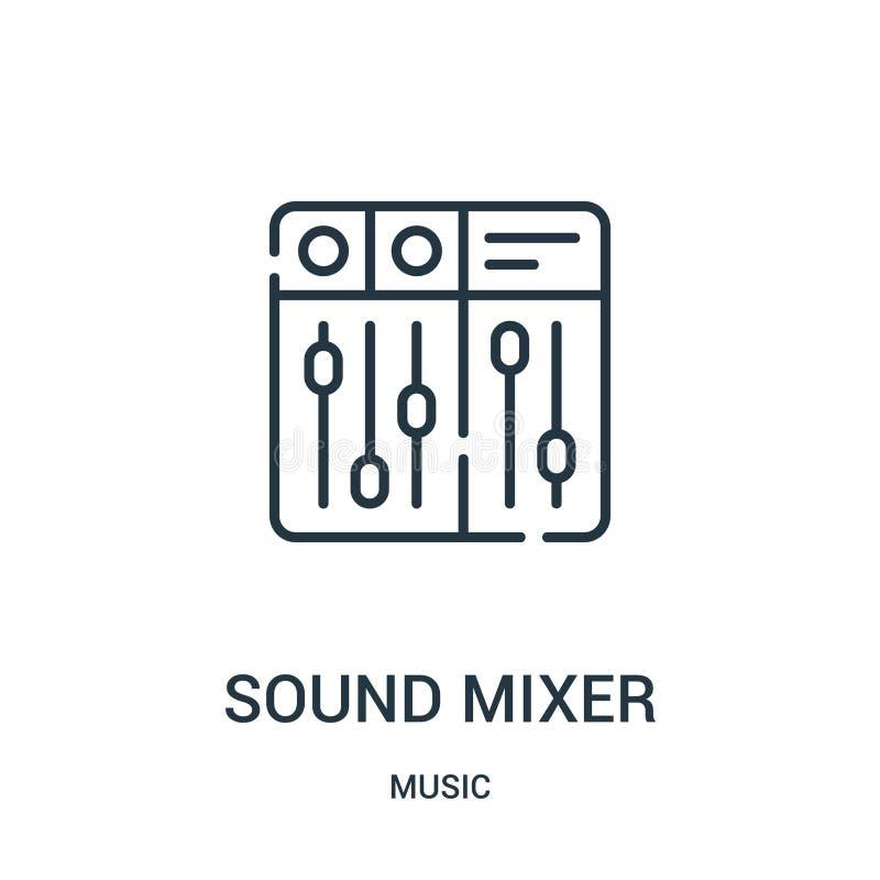 vecteur d'icône de mixeur son de collection de musique Ligne mince illustration de vecteur d'icône d'ensemble de mixeur son illustration de vecteur