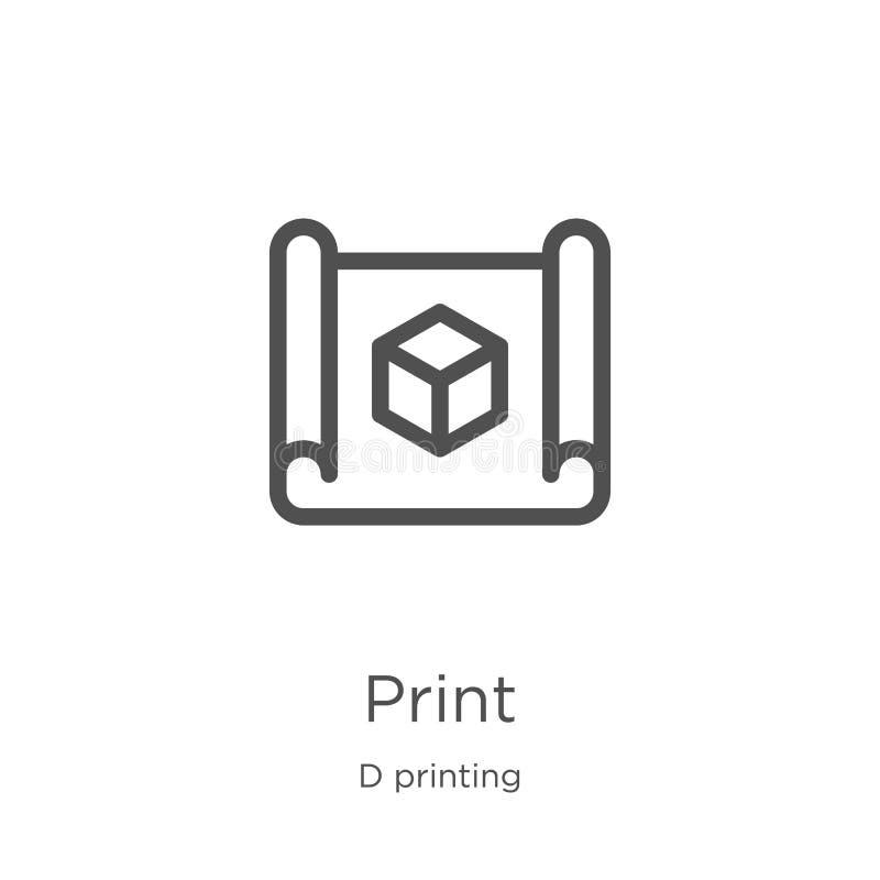 vecteur d'icône de modèle de collection d'impression de d Ligne mince illustration de vecteur d'icône d'ensemble de modèle Contou illustration de vecteur