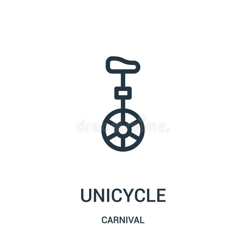 vecteur d'icône de monocycle de collection de carnaval Ligne mince illustration de vecteur d'icône d'ensemble de monocycle illustration stock