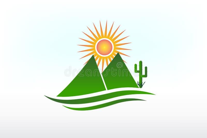 Vecteur d'icône de montagnes, de soleil, de route et de cactus de logo illustration de vecteur