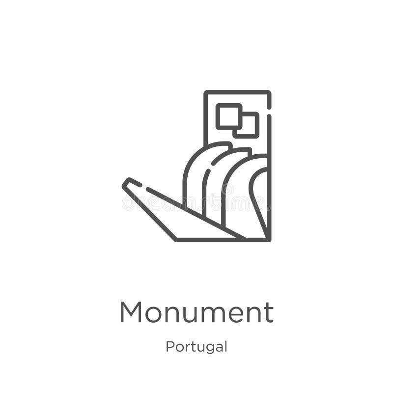 vecteur d'icône de monument de collection du Portugal Ligne mince illustration de vecteur d'ic?ne d'ensemble de monument Contour, illustration stock