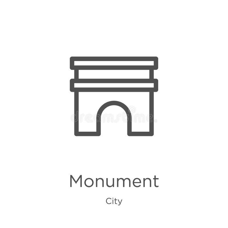 vecteur d'icône de monument de collection de ville Ligne mince illustration de vecteur d'icône d'ensemble de monument Contour, li illustration libre de droits