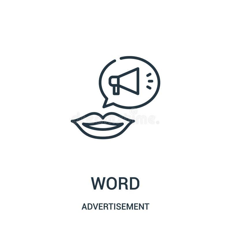 vecteur d'icône de mot de collection de publicité Ligne mince illustration de vecteur d'icône d'ensemble de mot illustration libre de droits