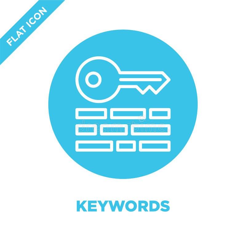 vecteur d'icône de mots-clés Ligne mince illustration de vecteur d'icône d'ensemble de mots-clés symbole de mots-clés pour l'usag illustration stock