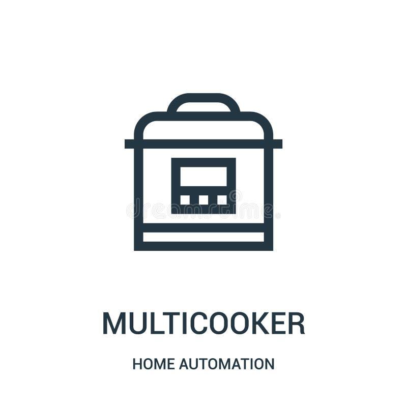 vecteur d'icône de multicooker de collection de domotique Ligne mince illustration de vecteur d'icône d'ensemble de multicooker S illustration libre de droits