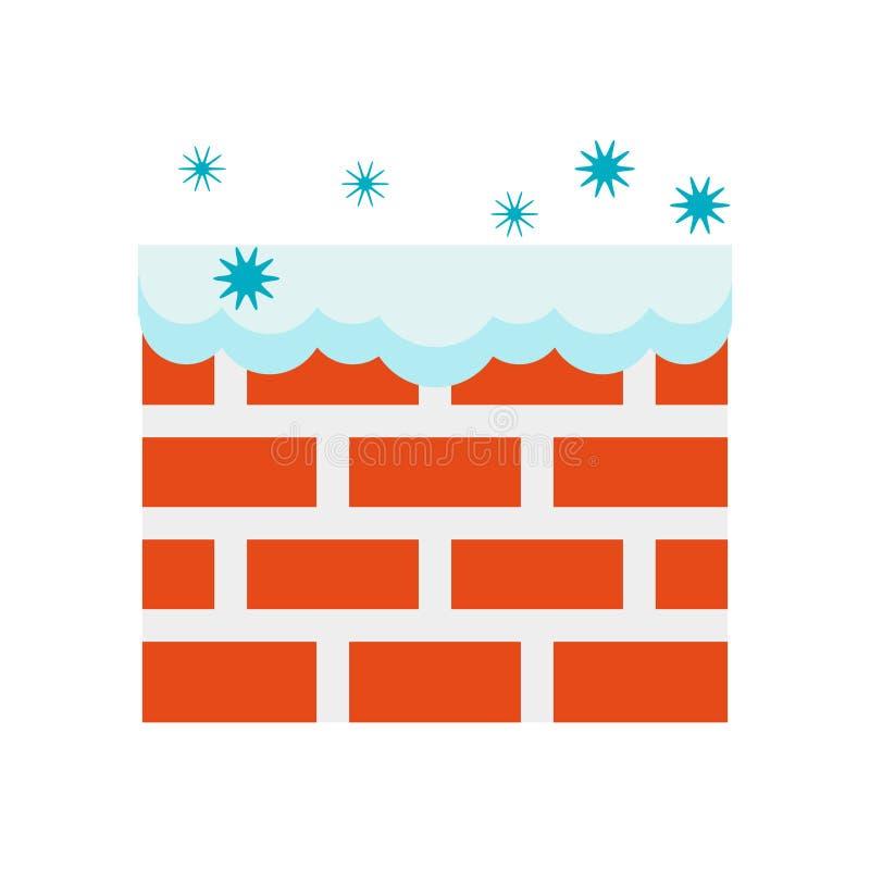 Vecteur d'icône de mur d'isolement sur le fond blanc, signe de mur, symboles froids neigeux d'hiver illustration de vecteur