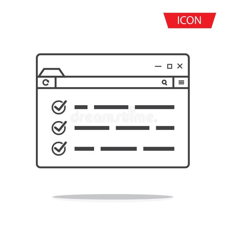 Vecteur d'icône de navigateur de page Web images libres de droits