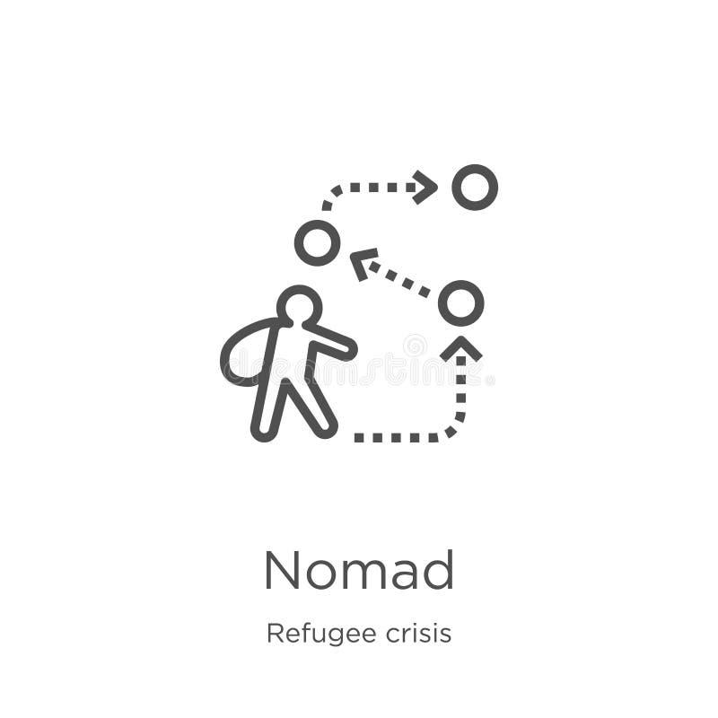vecteur d'icône de nomade de collection de crise de réfugié Ligne mince illustration de vecteur d'icône d'ensemble de nomade Cont illustration stock