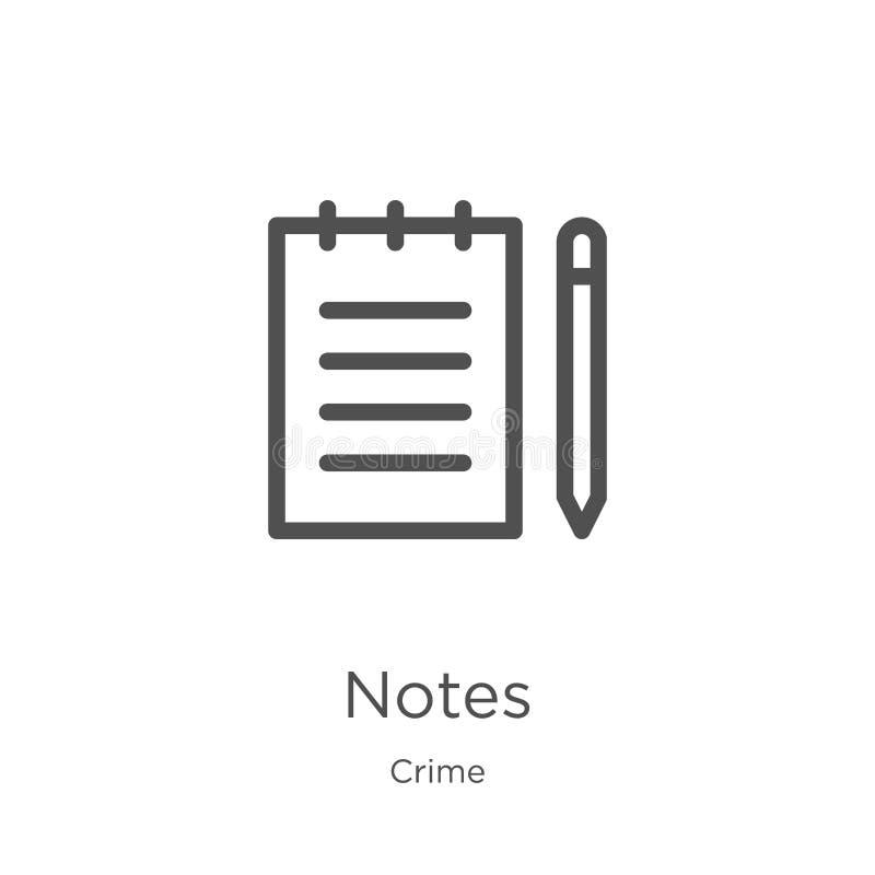 vecteur d'icône de notes de collection de crime La ligne mince note l'illustration de vecteur d'ic?ne d'ensemble Contour, ligne m illustration de vecteur