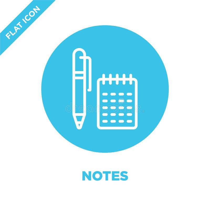 vecteur d'icône de notes de collection de papeterie La ligne mince note l'illustration de vecteur d'icône d'ensemble Symbole liné illustration stock