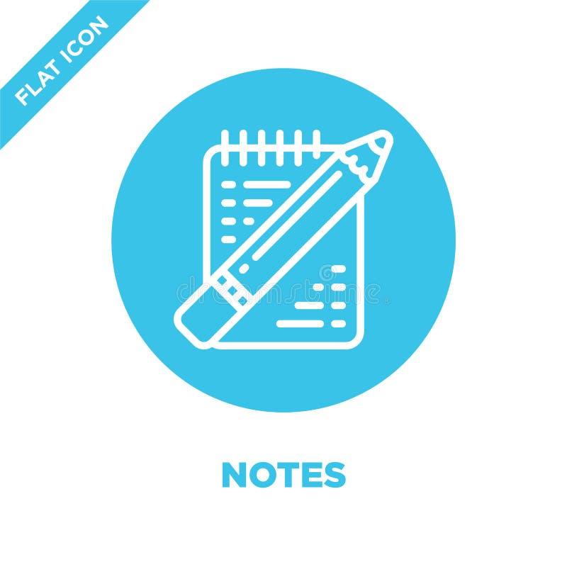 vecteur d'icône de notes de collection de papeterie La ligne mince note l'illustration de vecteur d'icône d'ensemble Symbole liné illustration de vecteur