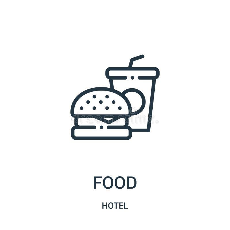 vecteur d'icône de nourriture de collection d'hôtel Ligne mince illustration de vecteur d'icône d'ensemble de nourriture illustration libre de droits