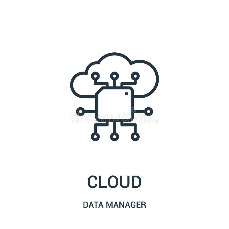 vecteur d'icône de nuage de collection de directeur de données Ligne mince illustration de vecteur d'icône d'ensemble de nuage Sy illustration libre de droits