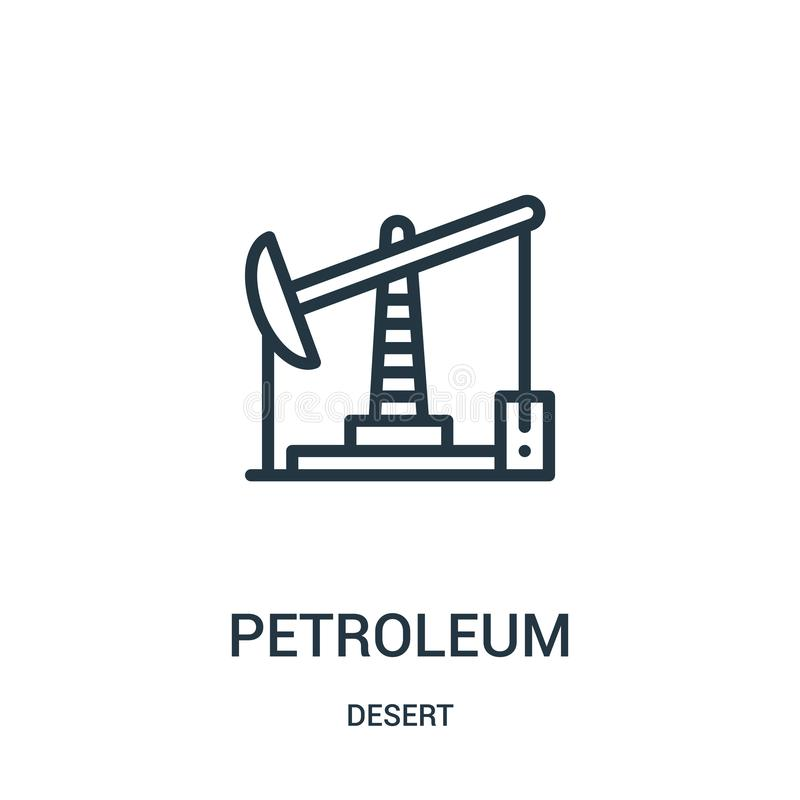 vecteur d'icône de pétrole de collection de désert Ligne mince illustration de vecteur d'icône d'ensemble de pétrole Symbole liné illustration libre de droits