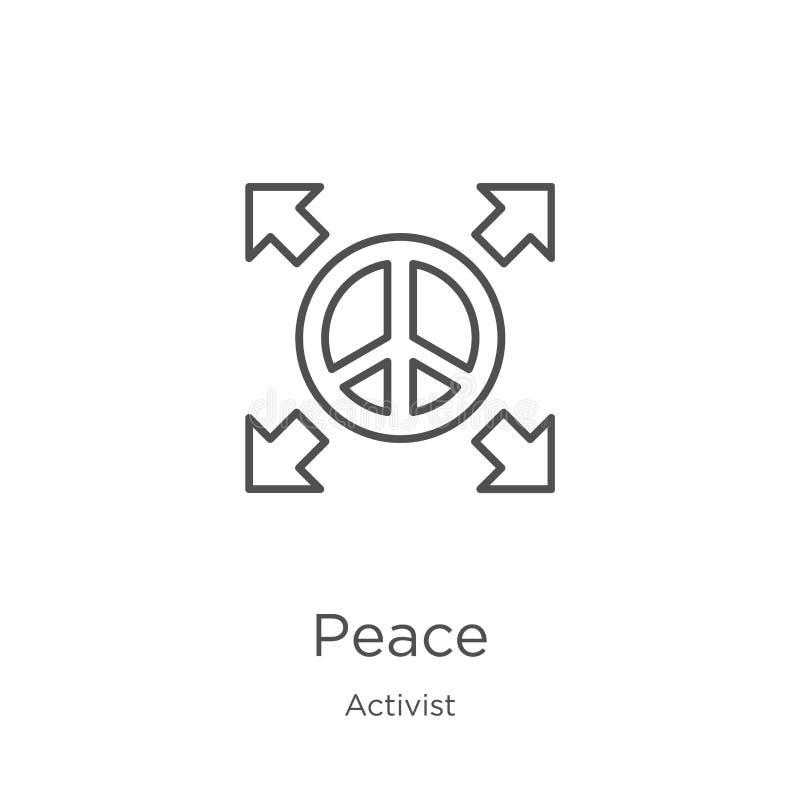 vecteur d'icône de paix de collection d'activiste Ligne mince illustration de vecteur d'icône d'ensemble de paix Contour, ligne m illustration stock