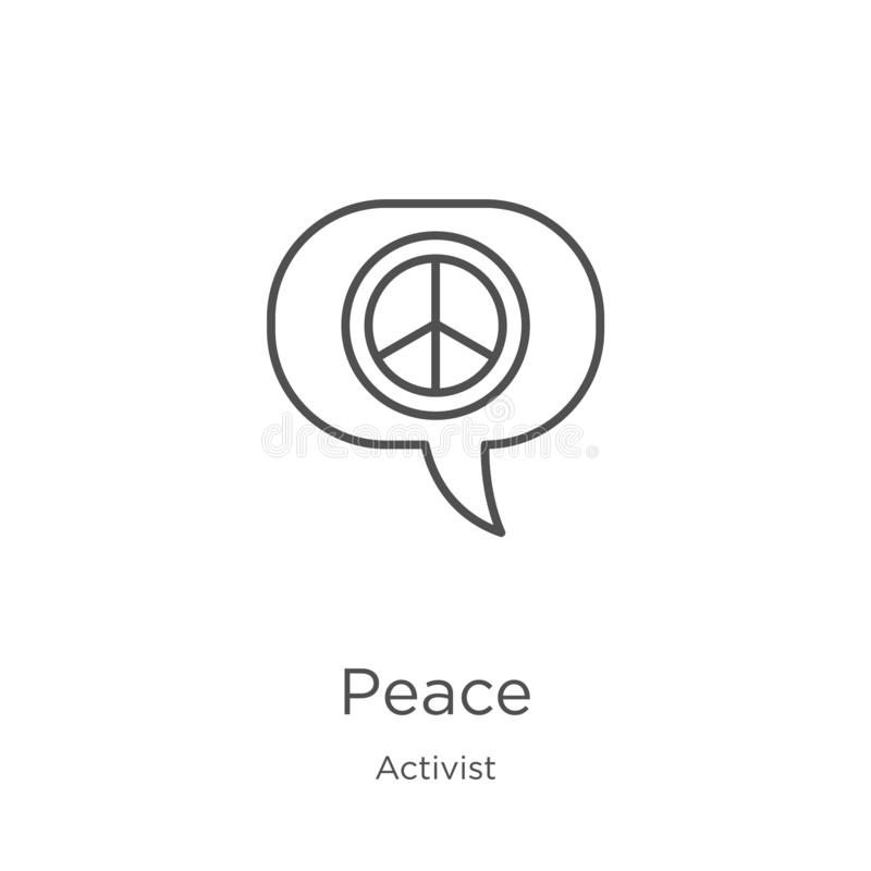 vecteur d'icône de paix de collection d'activiste Ligne mince illustration de vecteur d'icône d'ensemble de paix Contour, ligne m illustration libre de droits