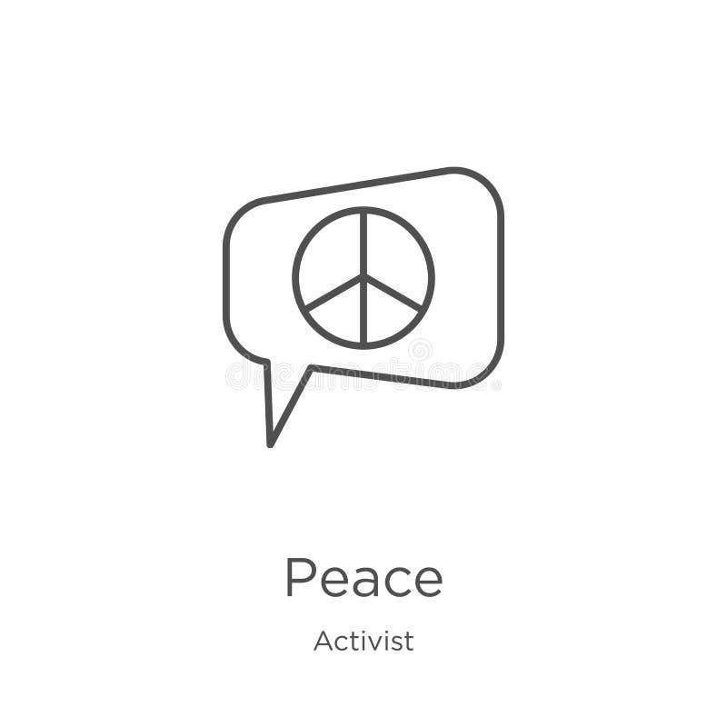 vecteur d'icône de paix de collection d'activiste Ligne mince illustration de vecteur d'icône d'ensemble de paix Contour, ligne m illustration de vecteur