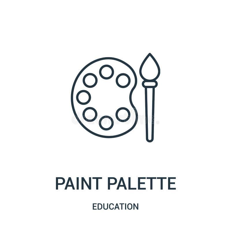 vecteur d'icône de palette de peinture de collection d'éducation Ligne mince illustration de vecteur d'icône d'ensemble de palett illustration stock