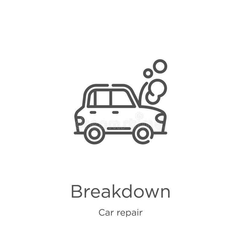 vecteur d'icône de panne de collection de réparation de voiture Ligne mince illustration de vecteur d'icône d'ensemble de panne C illustration de vecteur