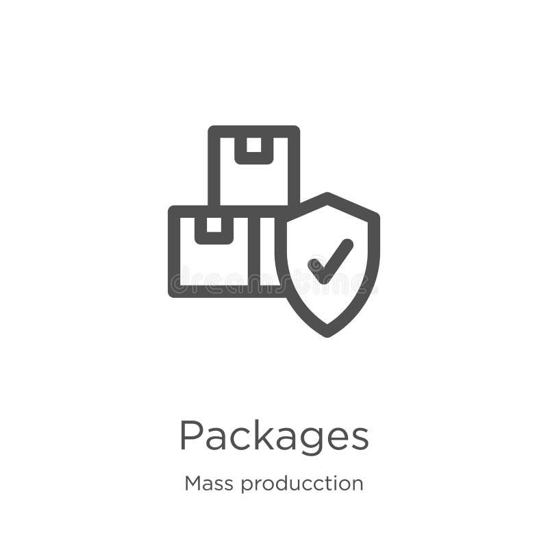 vecteur d'icône de paquets de la collection de masse de producction Ligne mince illustration de vecteur d'icône d'ensemble de paq illustration de vecteur