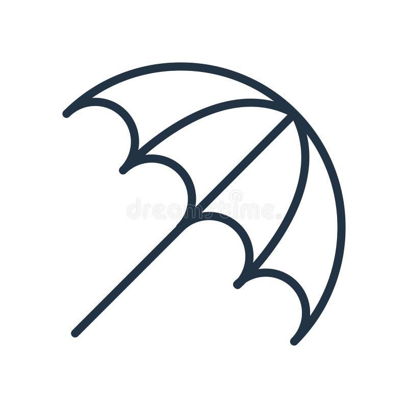 Vecteur d'icône de parapluie de Sun d'isolement sur le fond blanc, signe de parapluie de Sun illustration de vecteur