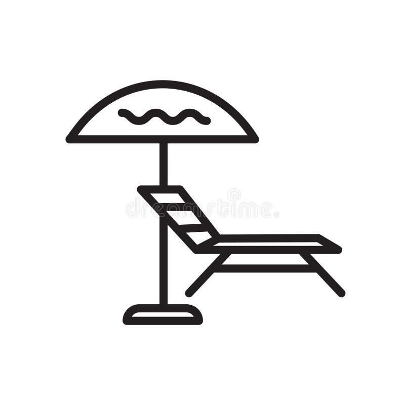 Vecteur d'icône de parapluie de Sun d'isolement sur le signe blanc de fond, de parapluie de Sun, le symbole linéaire et les éléme illustration libre de droits