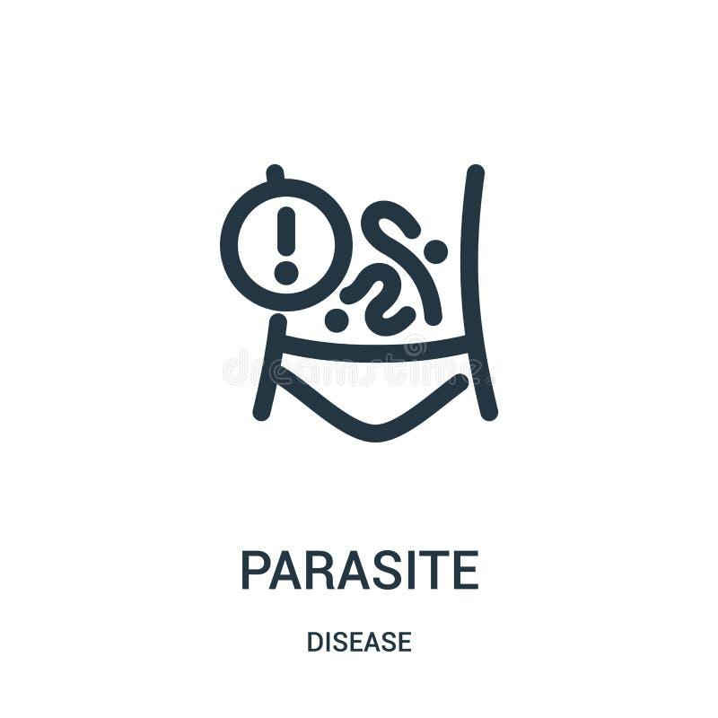 vecteur d'icône de parasite de collection de la maladie Ligne mince illustration de vecteur d'icône d'ensemble de parasite Symbol illustration de vecteur