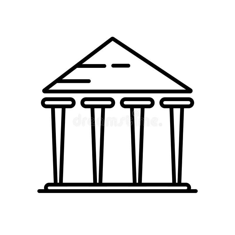 Vecteur d'icône de parthenon d'isolement sur le fond blanc, le signe de parthenon, la ligne ou le signe linéaire, conception d'él illustration de vecteur