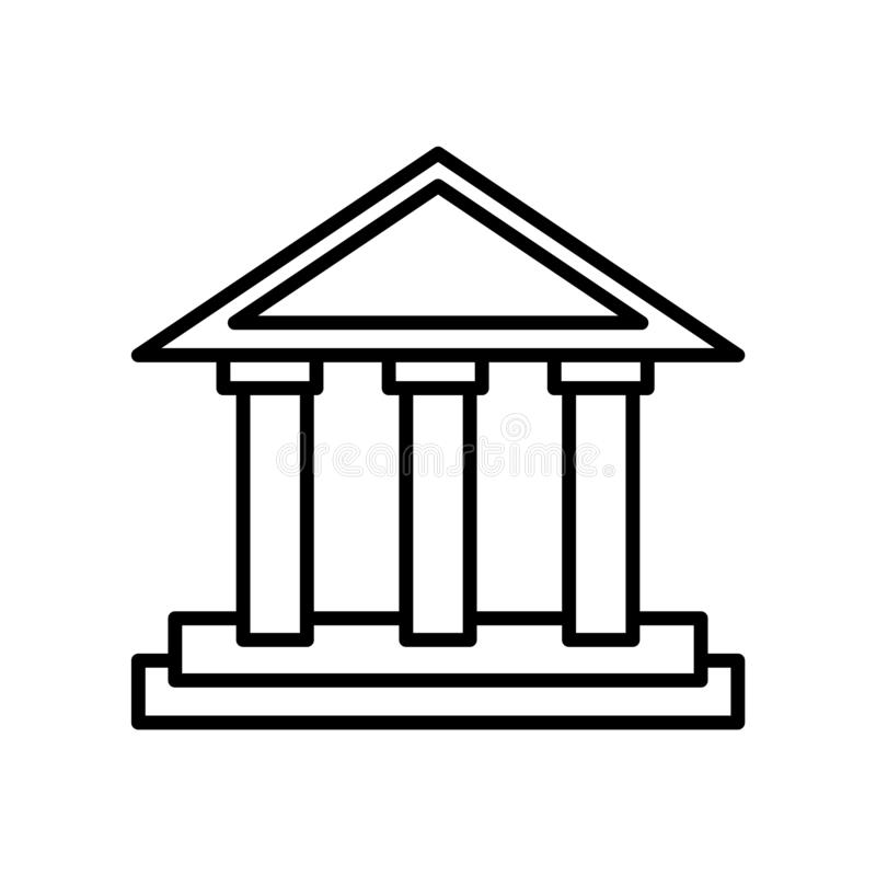 Vecteur d'icône de parthenon d'isolement sur le fond blanc, le signe de parthenon, la ligne ou le signe linéaire, conception d'él illustration libre de droits