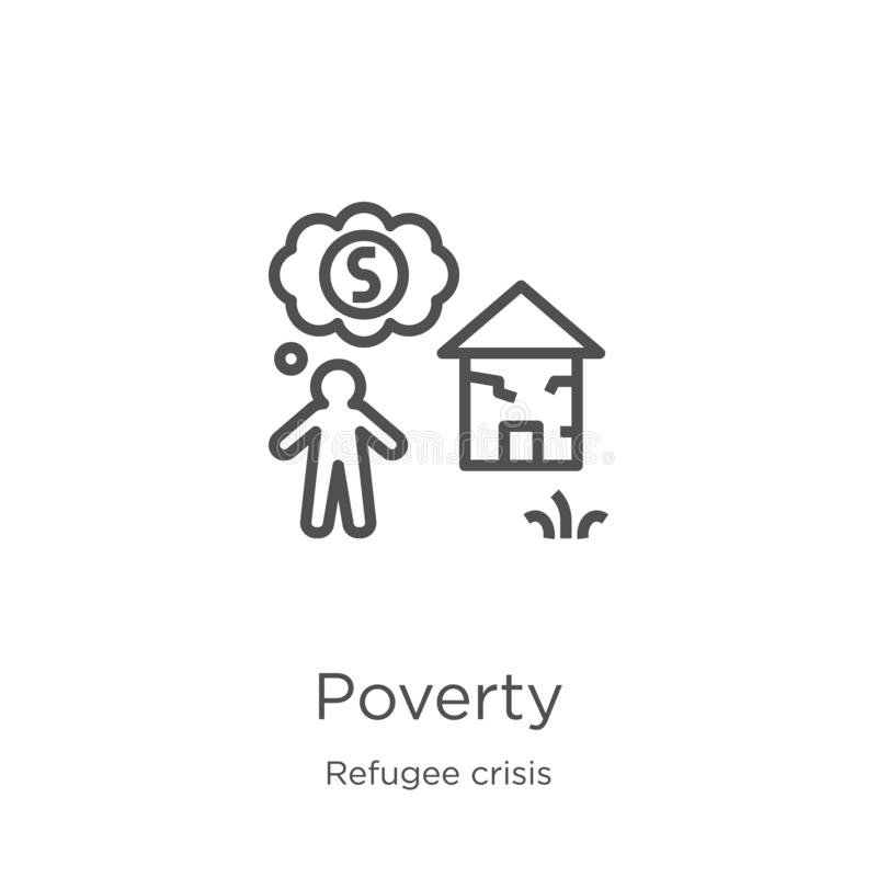 vecteur d'icône de pauvreté de collection de crise de réfugié Ligne mince illustration de vecteur d'icône d'ensemble de pauvreté  illustration de vecteur