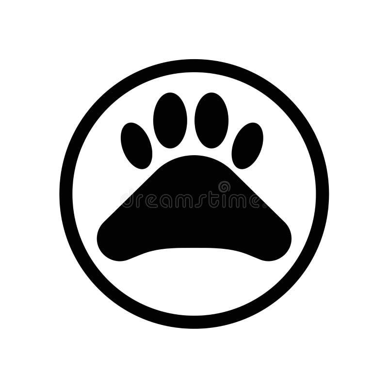 Vecteur d'icône de Pawprint d'isolement sur le fond blanc, signe de Pawprint, pictogramme foncé illustration libre de droits