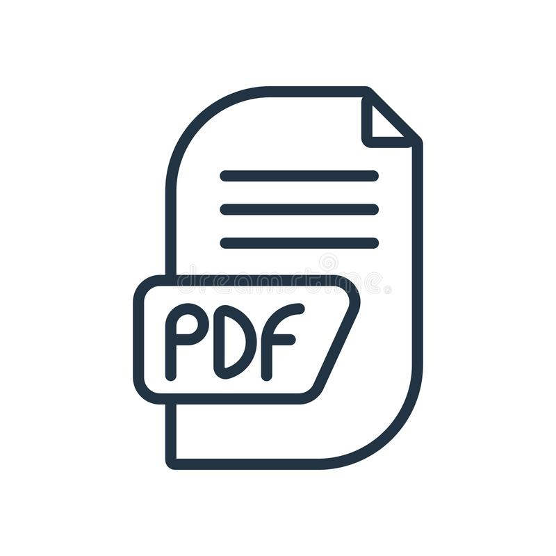 Vecteur d'icône de pdf d'isolement sur le fond blanc, signe de pdf illustration de vecteur