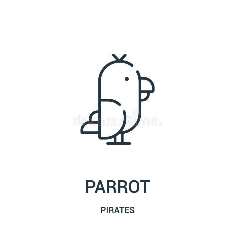 vecteur d'icône de perroquet de collection de pirates Ligne mince illustration de vecteur d'icône d'ensemble de perroquet Symbole illustration stock